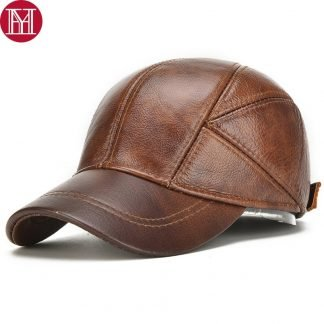 Men Real Cowhide Leather Earlap Caps Male Fall Winter 100% Real Cow Leather Hats New Casual Real Leather Outdoor Baseball Cap