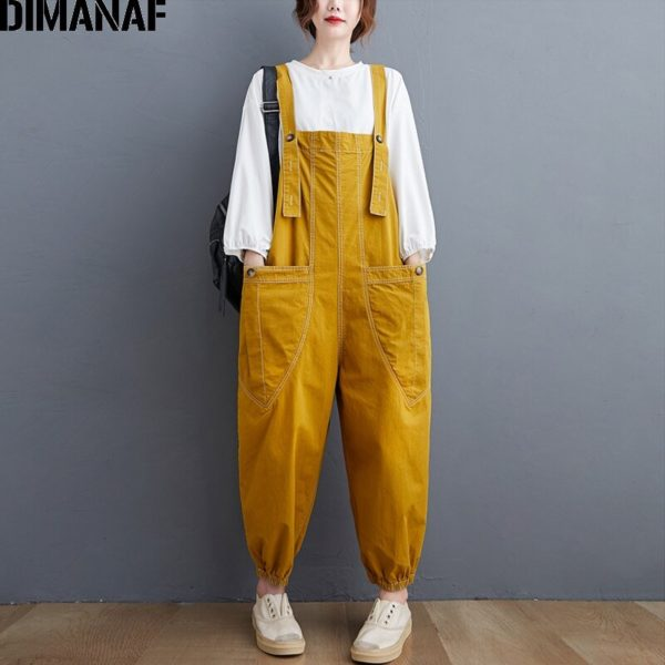 DIMANAF Plus Size Women Jumpsuits Overalls Long Pants Trousers Autumn Winter Streetwear Clothing Loose Casual Spliced Pockets