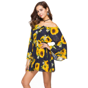 Bright Floral Print Off Shoulder Short Dress