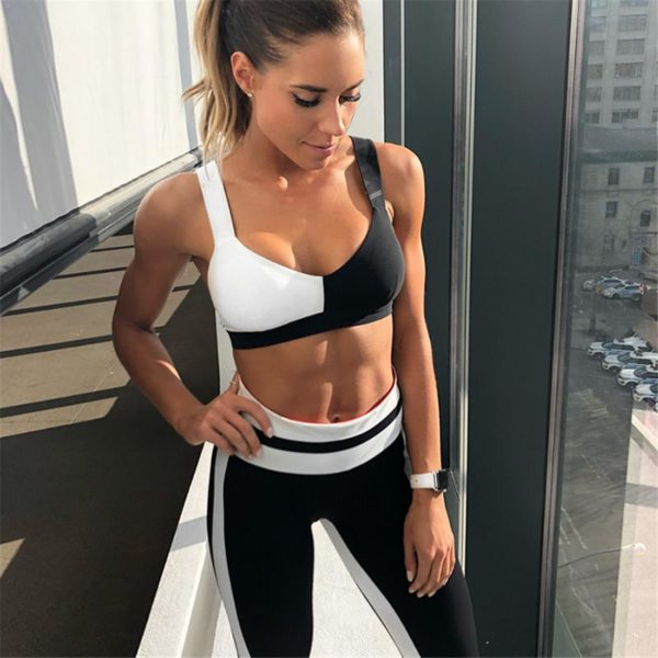 Matching Leggings and Sports Bra Black And White