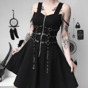 Gothic Style Black Mini Dress