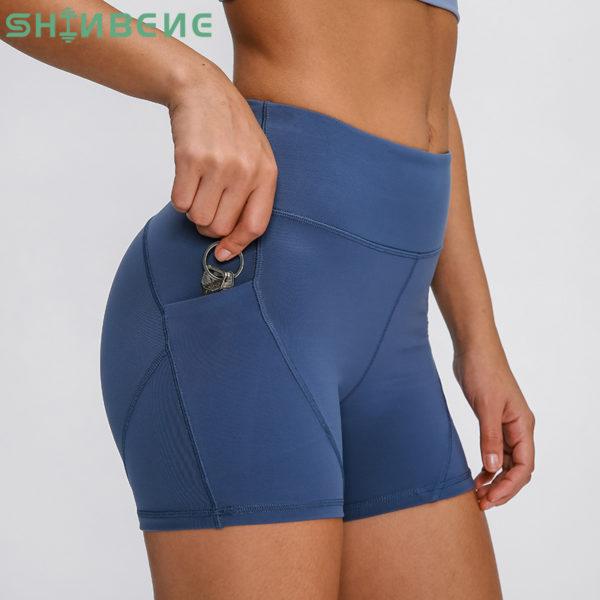 High Waist Yoga Shorts with Side Pockets