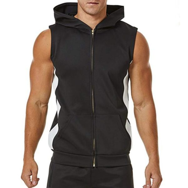 Sports Hooded Vest With Zipper